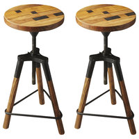 Butlerty Industrial Chic Revolving Bar Stool, Set of 2 2048025