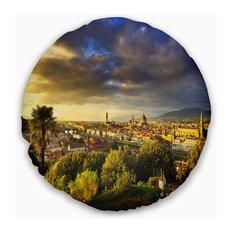 "Florence Sunset Aerial View Landscape Printed Throw Pillow, 20"" Round"
