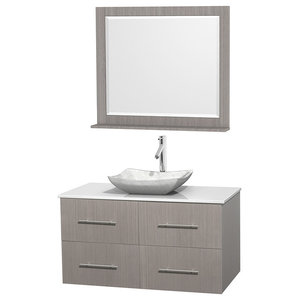 "Centra 42"" Gray Oak Single Vanity, White Man-Made Stone Top, Carrera Marble Sink"