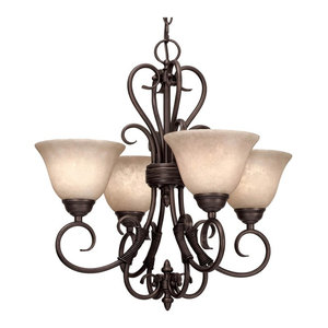 Homestead 4-Light Mini Chandelier, Rubbed Bronze With Tea Stone Glass