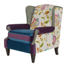 Anya Boho Chic Wingback Accent Arm Chair, Purple Teal Leopard Floral