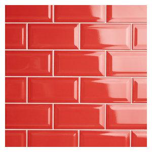 "3""x6"" Malda Beveled Subway Glossy White Ceramic Wall Tiles, Apple Red"
