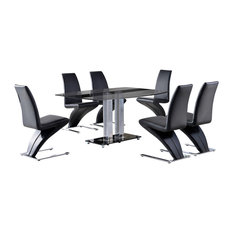 Roma Tempered Glass, Chrome Dining Table, 6 Zed Leather Chairs, 150 cm, Black
