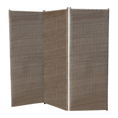 GDF Studio Osage Outdoor Wicker Privacy Screen, Light Ash Brown
