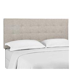 Beige Paisley Tufted Full / Queen Upholstered Linen Fabric Headboard