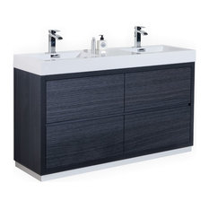"Kubebath Bliss 60"" Double Sink Floor Mount Bathroom Vanity, Gray Oak"