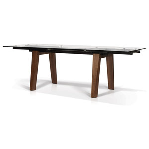 KR-2048W Rectangular Glass Top Extension Dining Table