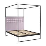 Federico Double Canopy Bed, Blush Velvet, Black Base