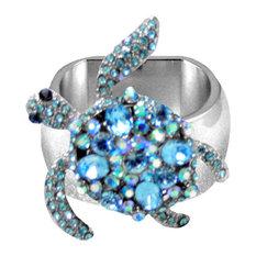 Napkin Ring, Aquamarine Crystal Sea Turtle