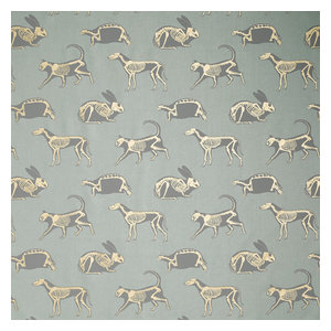 """PaperBoy Interiors """"Animal Magic"""" Fabric, Green and Gold"""