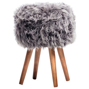 Sheepskin Stool, Grey