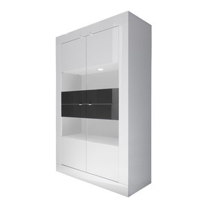 Dolcevita Wide Large Storage Cabinet, White Gloss/Grey
