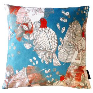 Bird and Leaves Cushion, Blue and Grey