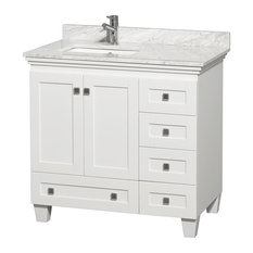 "Acclaim 36"" White Vanity White Marble Top, No Mirror, Undermount Square Sink"