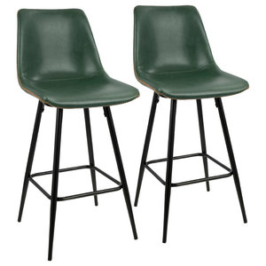 Durango Counter Stools With Black Frames and Green Leather, Set of 2