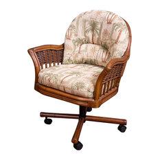 Bridgeport Tilt Swivel Caster Chair In Sienna With Palms Pineapple