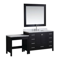 """London 48"""" Single Sink Vanity Set With Make-up Table, Espresso"""