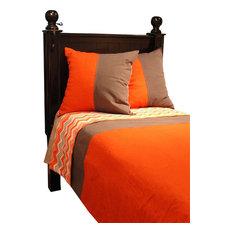 Artistic Sensations - Twin Gray, Orange, and Chevron Print Duvet & Euro Shams - Kids Pillowcases & Shams