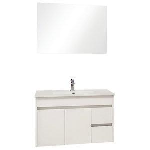 Nina Bathroom Vanity Unit and Mirror 2-Piece Set, 81 cm