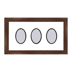 Walnut Collage Picture Frame - 3 oval openings for 4X6 photos