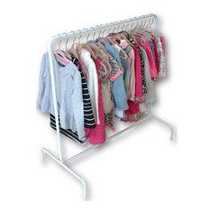 Children's Garment Rack With 10 Black Hangers, Black Hangers