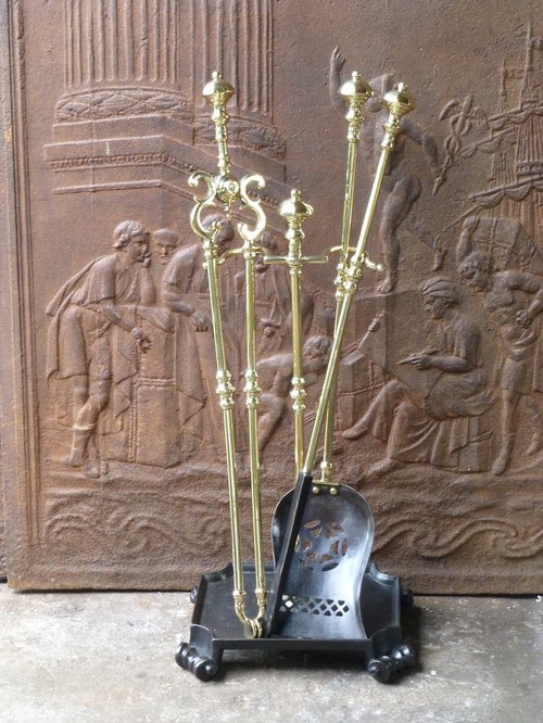solid set head of antique poker vintage fireplace unicorn brass rvtb tools piece