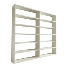 Torero Wide Double Bookcase, White Gloss