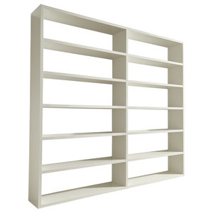 Torero Wide Double Bookcase, White Gloss
