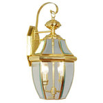 """Livex Lighting - Livex Lighting 2251 Monterey 2 Light 120W Outdoor Wall Sconce - Product Features: Finish: Polished Brass , Light Direction: Ambient Lighting , Width: 10.5"""" , Height: 20.25"""" , Genre: Traditional , Bulb Type: Incandescent , Number of Bulbs: 2 , Fully covered under Livex Lighting warranty , Location Rating: Outdoor Use"""