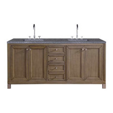 "Chicago 72"" Double Vanity, White Washed Walnut, 4cm Black Rustic Stone Top"