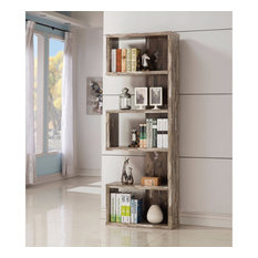 Distressed Wooden Open Bookcase Brown