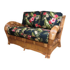 Kingston Reef Love Seat In Cinnamon Palm Floral Garden Fabric