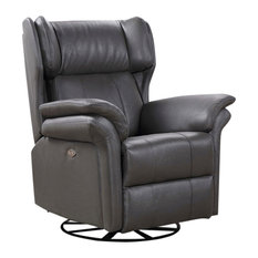 Harper Leather Swivel Chair, Grey