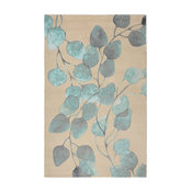 Turquoise Ficus Modern Floral Area Rug, 5'x7'
