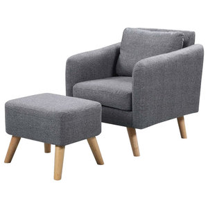 Contemporary Armchair Upholstered, Fabric With Footstool for Ultimate Comfort