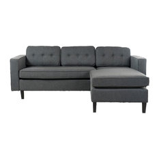 GDFStudio   Windsor Mid Century 2 Piece Fabric Chaise Sectional Sofa, Dark  Gray   Sectional
