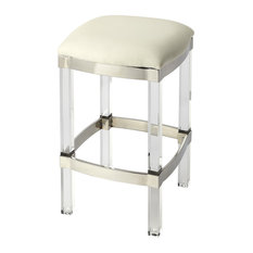 Butler Jordan Acrylic And White Leather Counter Stool
