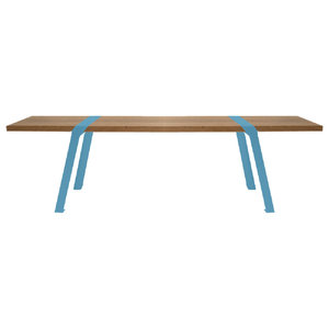 Solid Oak and Steel Dining Bench, Blue Steel, Small