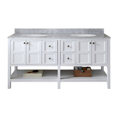 """Winterfell 72"""" Double Vanity, White, Marble Top, Round Sink"""