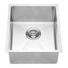 "Dawn BS131507 15"" Single Bowl Undermount 18 Gauge Stainless Steel Bar Sink"