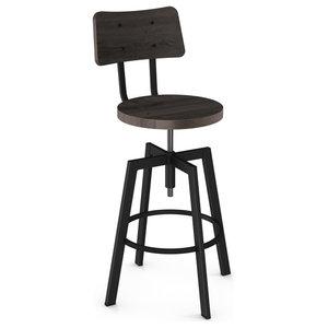 Woodland Distressed Seat Screw Stool, Textured Black, Medium Dark Gray