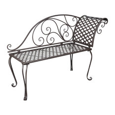 vidaXL Metal Garden Chaise Lounge Scroll-Patterned, Antique Brown