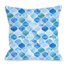 """""""Ocean Moroccan"""" Indoor Throw Pillow by OneBellaCasa, 16""""x16"""""""
