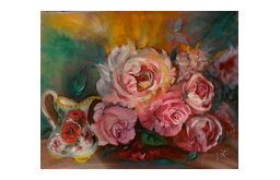 """Roses and Cream"" Original Wall Art by Jenny Lee Jonah"