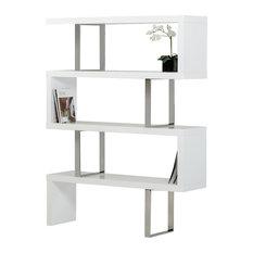 Modrest Maze Modern High Gloss Bookcase, White