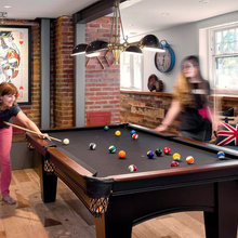 Industrial-Style Basement for Family Games, Movies and Exercise
