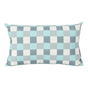 GDF Studio Raylan Indoor Rectangular Throw Pillow, Blue/White Plaid