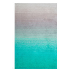 Hand-Tufted Ombre Shag Rug, Turquoise, 5'x8'