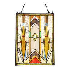 "CHLOE-Lighting ROWAN Mission Tiffany-glass Window Panel 24"" Tall"