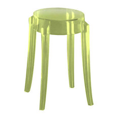 Charles Ghost Stool By Kartell Set Of 2 Green Small